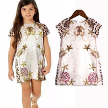 European Princess Dress Kid Baby Little Girls Dresses Summer Holiday Casual Costume Leopard Print Children Brand Clothing(China)