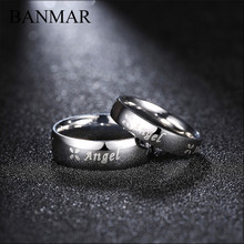 BANMAR Fashion Stainless Steel Ring Letters Angel Couples Rings for Men Women Lovers Valentine's Gift Party Wedding Ring Jewelry