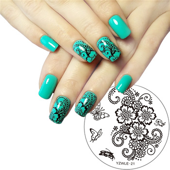 YZWLE 1Pc Hand-painted Butterfly Flower Original Designs Nail Art Stamp Stamping Plates Template Image Plate Stencil for Nails