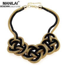 MANILAI Women Big Chunky Necklace Alloy Chain Knot Pendant Collar Chokers Statement Necklaces Maxi Handmade Jewelry Boho 2017