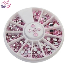 Purple Rhinestones For Nail Art Tips Glitter Wheel Nails 3D DIY Studs Decorations ZP064(China)