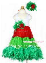 Xmas White Red Green ONE-PIECE Petti Dress Kelly Green Posh Feather Kelly Green Feather Rose Bow With Accessory 2PC Set MALP29-2
