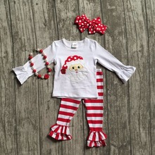 new Christmas winter clothes baby girls santa outfits children boutiques cotton red stripe ruffle pants match with accessories(China)