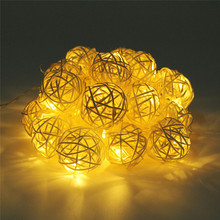 2M 20pcs Rattan Ball Fairy String Light Garland AA Battery Powered Christmas String Light Fairy Party Wedding Patio Decoration(China)