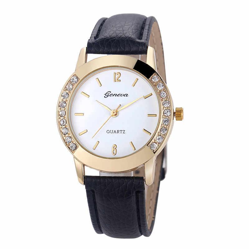 Reloj Mujer 2018 Geneva moda Mujer diamante cuero analógico cuarzo Reloj de pulsera  Relojes Mujer relojes 53fa92180a32