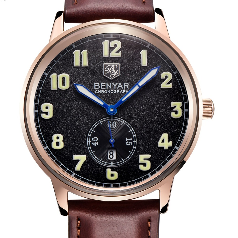 BENYAR Stainless Steel Case Leather Strap Matte Surface For Best Price Quartz Watch Reloj Hombre Clock Men Relogio Masculino<br>