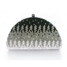 7733C Crystal Black in Gradual change effect Night Metal Evening purse clutch bag handbag case box