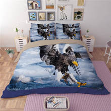 Blue Sea Bedlinen 3/4PCs Fly Eagle Bedding Sets Twin Full Queen King Sizes 3d Comforter Cover for Boys Adults Cotton Pillowcases(China)