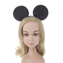 10pcs/lot Black Sparkle Mickey Mouse Ears Headband for Adult Kids Halloween Christmas Carnival Cosplay Costumes Accessories