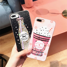 Lizardhill Glitter Dynamic Liquid Cartoon Unicorn Back Cover For iphone 6 Case For iphone 6S 7 7Plus Phone Case Drink Strawberry(China)