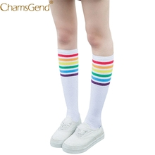 Chamsgend 1Pair Women Rainbow Striped Long White Cotton Stockings Skinny Comfortable Medias 71220(China)