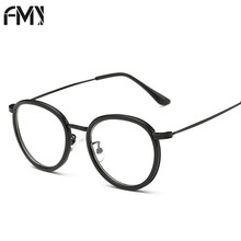 FMY Ultra Light TR90 Eyeglasses Frames For Women Men Retro Reading Myopia Glasses Frame Classic Round Metal Optical Frame 51028(China)