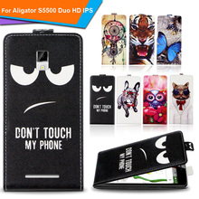 Newest  For Aligator S5500 Duo HD IPS Factory Price Luxury Cool Printed Cartoon 100% Special PU Leather Flip case cover,Gift