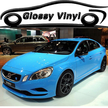 High Quality High Glossy Light Blue Vinyl Wrap Blue Gloss Wrapping Film Air Bubble Free For Vehicle Wraps Size:1.52*30m/Roll
