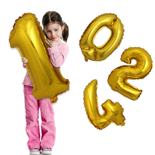1Pcs 32 Inch Gold Silver Number Balloon Digit Foil Helium Balloons Birthday Wedding Party Decoration Celebration Air Balloon(China)