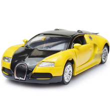 Alloy metal Diecast Car 1:36 Bugatti Veyron 16C Galibier Electronic light sound Pull Back Cars Model Kids Toys for Boys LF778