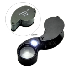 Free Shipping 40x 25mm Glass LED Light Magnifying Magnifier Jeweler Eye Jewelry Loupe Loop NEW