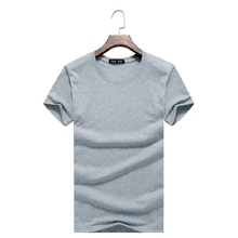 Large size men's short-sleeved T-shirt Summer new solid color Slim casual o-neck T-shirt 2017 simple fashion men clothing trends(China)