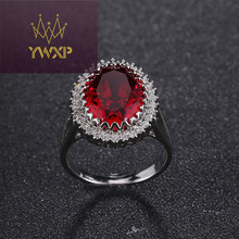 Fashion Red Crystal Rings Gun-Metal Plated Brand Retro Zircon Ring Imitation Gemstone Jewelry For Women BG137