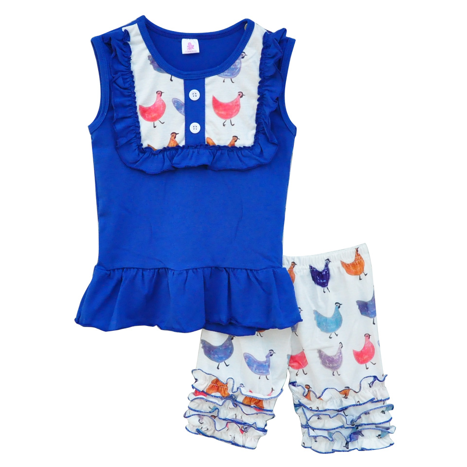 Factory Direct Sale Girls Summer Sets Outfits Animal Chick Printing Bib Tops Ruffle Shorts Children Clothing Sets E011<br><br>Aliexpress
