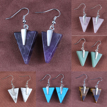 Kraft-beads Simple Style Purple Amethysts Green Howlite Tiger Eye Stone Triangle Earrings Rose Pink Quartz Jewelry(China)