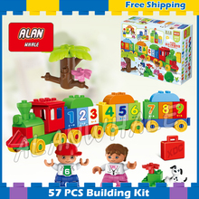 57pcs First Number Train Model Building Blocks Action Learning Bricks Baby Toys Gifts Sets Kids Compatible Lego Duplo