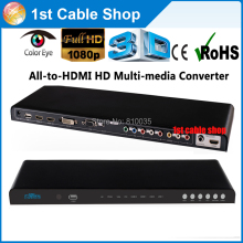 Free DHL&Fedex shippment 5pcs all video to hdmi converter scaler HDMI/DVI/VGA/Ypbpr/AV RCA to HDMI in retail package