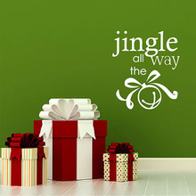 "Christmas Decal ""Jingle All the Way"" DIY Christmas Vinyl Sticker Holiday Sign Holiday Decal Sticker 683MX"