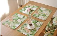 Cotton Linen Mat Pads Placemat Dining Table Mats Rugs Pastoral Flower Table Pad Coaster Table Decoration Kitchen wares