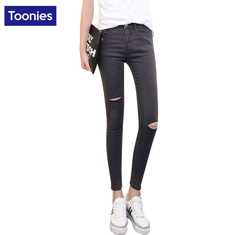 Summer Skinny Pencil Pants All-match Hollow Jeans Woman Skinny Elastic Ripped Jeans for Women Grey Blue Black Trousers FemaleОдежда и ак�е��уары<br><br><br>Aliexpress