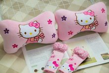 1 pair 27cm pink hello kitty cat flower plush car bone neck pillow safety belt cover novelty kids romantic stuffed toy
