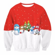 Christmas Day Women Digital Printing Long Sleeve Sweatshirts Clothes Casual Thread Style Sweatshirts Tops Women's Pullover
