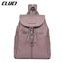 CLUCI Daypacks Genuine Leather Fashion Cover String Blue/Pink/Purple/Beige Backpacks For Teenage Girls School  Backpack Mochila