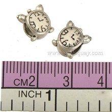 loose beads charms watch bracelet diy round big hole clocks design kawaii cute silver plate alloy jewelry components 9*8mm 40pcs(China)