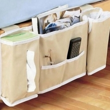 Home Bedside Bed Pocket Sofa Side Storage Organizer Hanging Bag Remote Control Phone Magazine Storage Rangement Holder Bag(China)