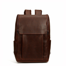 Mens Crazy Horse Leather Backpack Fashion Students School Bag Genuine Cow Leather Big Tote Casual Mackbook Laptop iPad Bags(China)