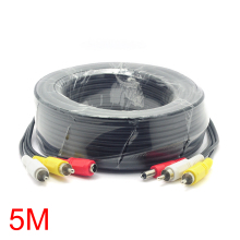 5M/16FT 2 RCA DC Connector Audio Video Power AV Cable All-In-One CCTV Wire