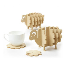 Non-heat Pine MDF coasters creative Place mat/office supplies coffee cup Mat Home Decor DIY handmade coaster simple animal shape(China)