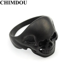 CHIMDOU 2017 Black Stainless Steel Punk Party Funny Heart Eye Skull Ring Men's Jewelry,AR379(China)