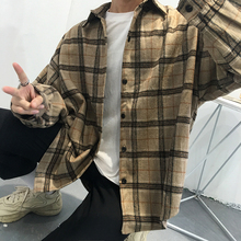 Dark Icon Plaid 모직 랜 턴 Sleeve Shirt Men 2018 Winter 두꺼운 Shirt Men 표현한 스트라이프티 Men's Shirt 2 색(China)