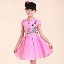 Summer new girl dress Children's cheongsam dress Girl dress Gauze dress Polyvinyl alcohol fiber