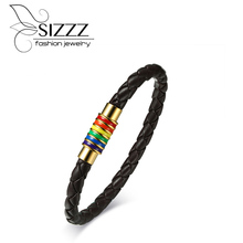 SIZZZ New listing of stainless steel rainbow PU leather brown hand-European and American rainbow Bracelets&bangles for men(China)