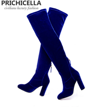Prichicella women's 10cm block chunky heel velvet stretch long thigh boots blue redwine over the knee elstic boots