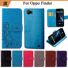 Newest For Oppo Finder Factory Price Luxury Cool Printed Flower 100% Special PU Leather Flip case with Strap(China)