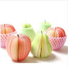 (1Pcs/Sell) Apple & Pear Memo Notebooks Notepads Stickers Christmas Gifts Diary for Drawing Painting Office School Stationery