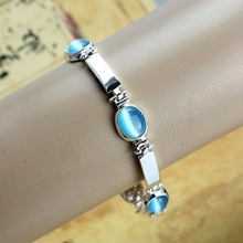 Girl Blue Opal Bracelet Femme 2016 Fashion Pulseras Love Silver Plated Bangles For Kids Christmas Gift Famous Brand Jewelry