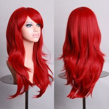 "28 "" 70cm Anime Cosplay Big Curly Wig Halloween costume ball  (Dark Red)"