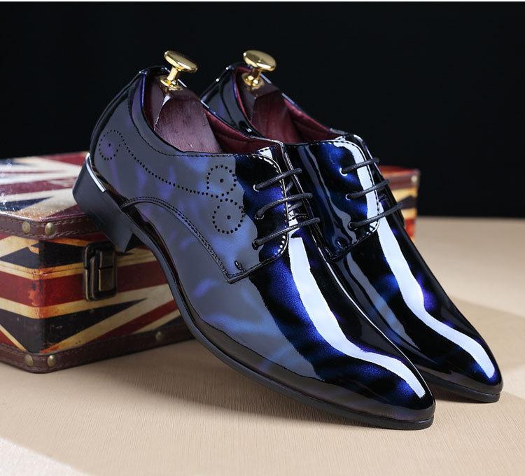 NPEZKGC Big Size 38-48 Men Shoes PU Leather Casual Shoes Fashion Lace Up Oxfrds Shoes Breathable Patent Leather Men Flat Shoes 12