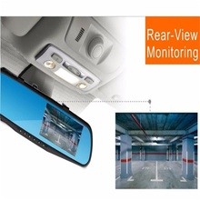 2017 hot sale 4.3 Dual Lens Video Recorder Dash Cam Rearview Mirror Car Camera Waterproof DVR Rear View Camera G-Sensor