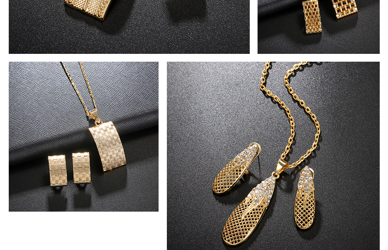 AYAYOO Jewelry Sets Nigerian Wedding African Beads Jewelry Set Square Women Bridal Antique Gold Color Ethiopian Jewelry Set (2)